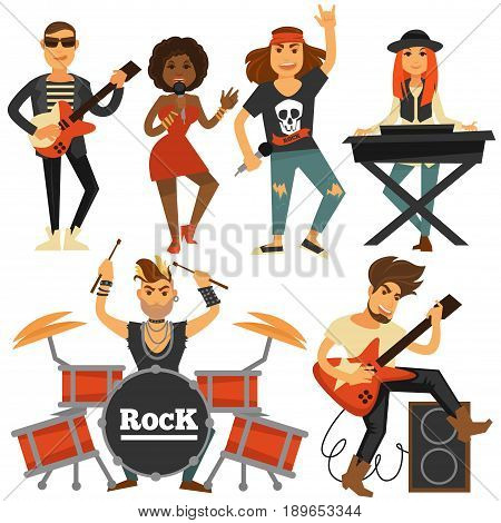 Rock music band of woman singer, bass guitarist, drummer man or percussion and sound synthesizer player at stage. Vector flat isolated icons for live musical festival or concert