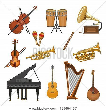 Musical instruments vector icons set. Violin fiddle or contrabass and percussion drums or cymbals, maracas, harp and trumpet or saxophone. Isolated symbols of piano and banjo guitar or flute pipe