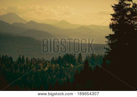 Carpathian Mountains Sunset. Scenic Landscape near Zakopane Lesser Poland.