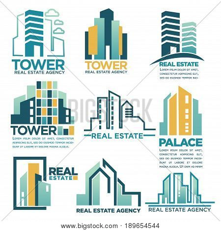 Real estate agency or company corporate logo templates of city skyscraper buildings, tower houses and hotels or apartments. Vector isolated outline icons set