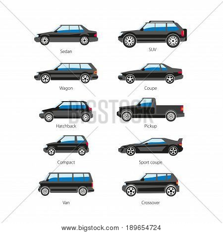 Car or automobile body types set with names of sedan, SUV or sport coupe wagon, compact pickup or hatchback crossover and van model. Vector flat isolated icons side view