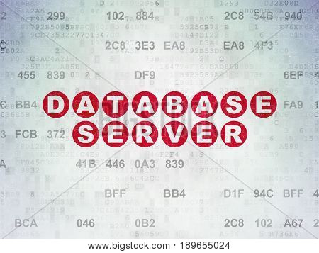 Software concept: Painted red text Database Server on Digital Data Paper background with Hexadecimal Code