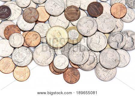 Many coins money euro dollar cash on desk