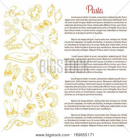 Pasta poster template for Italian macaroni recipe. Vector durum ravioli, lasagna and fettucine or spaghetti, hand-crafted tagliatelle, farfalle or papardelli and eliche for Italy cuisine or restaurant