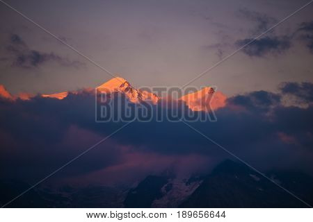 Mont Blanc Massif at Sunset near Chamonix France. Scenic Alpine Sunset.