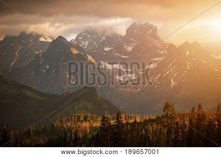 Mountains Sunset Scenery. Carpathian Tatra Mountains. Lesser Poland Europe.