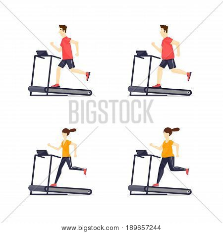 Young adult man, girl running on treadmill, sport, fitness, athletics, healthy lifestyle. Fat and thin. Cartoon. Vector illustration flat design.