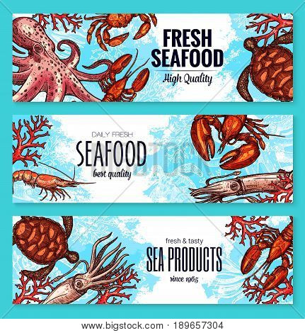 Fresh seafood or fish sea food banners of fishing big catch. Vector turtle, shrimps or prawns and crab or lobster, octopus and mussels or oysters, salmon fish and tuna for restaurant or fishery market