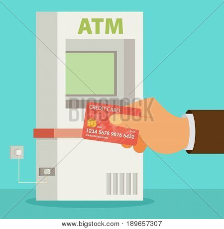 Vector flat ATM illustration with hand and card