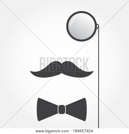 Monocle or eyeglasses mustache and bow tie. Old fashioned gentleman accessories icon. Vintage or hipster style. Vector illustration.