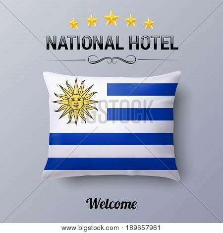 Realistic Pillow and Flag of Uruguay as Symbol National Hotel. Flag Pillow Cover with Uruguayan flag