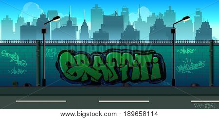 Graffiti wall background, urban art , unending background with separated layers for game.