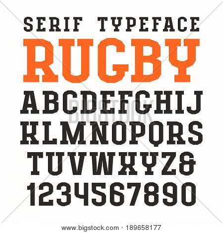 Serif font in sport style. Typeface design for titles and logos. Isolated on white background