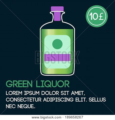 Green liquor card template with price and flat background. Vector illustration