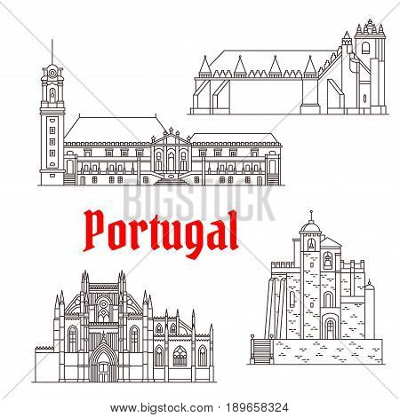 Portugal landmarks and Portuguese famous architecture buildings. Vector isolated icons and facades of Convent of Christ Monastery, Mertola and Nossa Senhora da Victoria Church, Sub-Ripas Palace