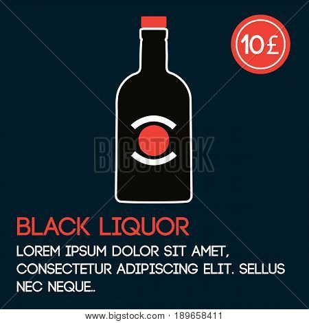 Black liquor card template with price and flat background. Vector illustration