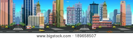 Illustration of a city landscape , with buildings and road, unending background with separated layers for game. illustration for your design.