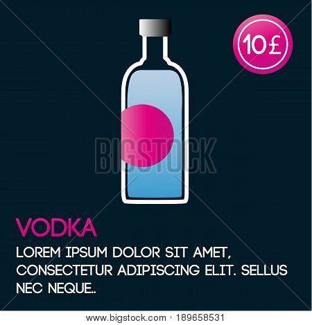 Vodka card template with price and flat background. Vector illustration