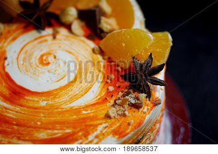 Carrot cake .Bright, juicy and unusual cake. Juicy and incredibly nutty A layer of caramel sponge cake successfully emphasizes.