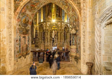 TOMAR,PORTUGAL - MAY 11,2017 - View at the round church in Convent of Christ of Tomar. The Convent of Christ is a former Roman Catholic convent/monastery in Tomar.