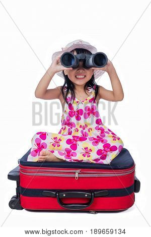 Happy Asian Little Chinese Girl Playing With Suitcase And Telescope