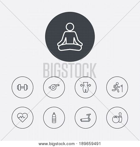 Set Of 9 Bodybuilding Outline Icons Set.Collection Of Water Bottle, Training, Weight Loss And Other Elements.