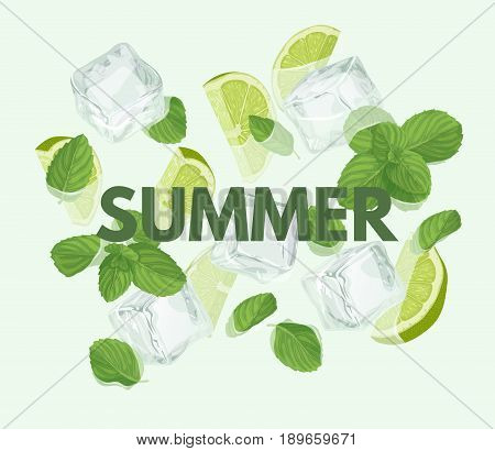 Summer letter with mojito cocktail. Season sale vector label. Lemonade lettering. Illustration with mint, ice cube and lime. Summertime poster. For t-shirt, fashion, prints, banner or packaging design