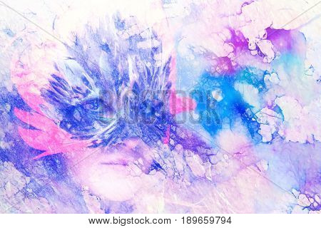 Young woman with a feather carnival face mask on abstract background, eye contact, Marble effect