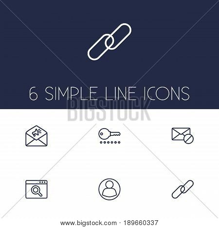 Set Of 6 Optimization Outline Icons Set.Collection Of Advertising, Block, Url And Other Elements.