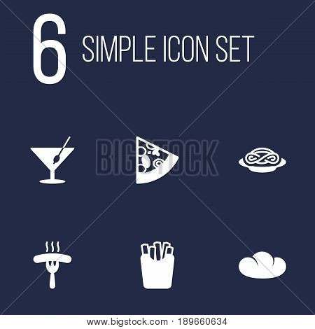 Set Of 6 Food Icons Set.Collection Of Potato, Pepperoni, Martini And Other Elements.