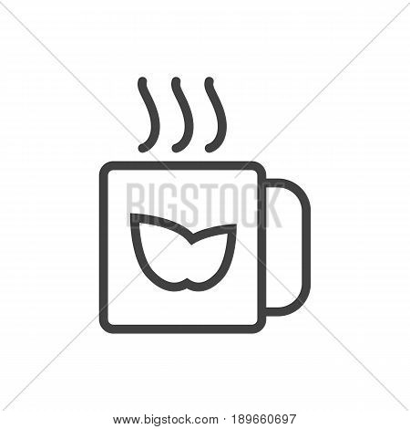 Isolted Tea Green Outline Symbol On Clean Background. Vector Mug Element In Trendy Style.