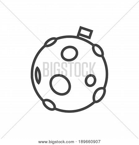 Isolted Lunar Outline Symbol On Clean Background. Vector Moon Element In Trendy Style.