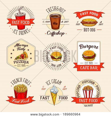 Fast food meals icons for restaurant menu. Vector isolated symbols of soda or coffee drink, hot dog or pizza and cheeseburger and hamburger. Fastfood french fries snacks and ice cream desserts