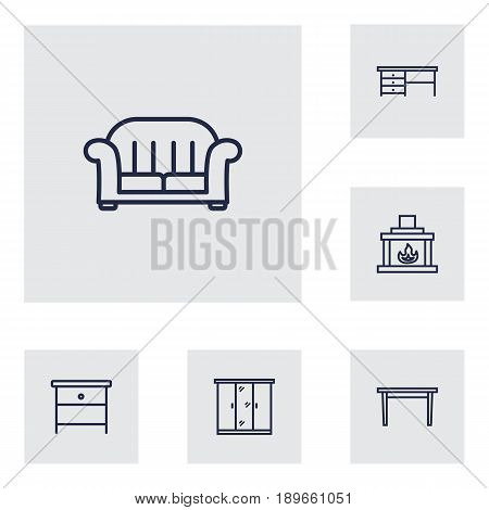Set Of 6 Set Outline Icons Set.Collection Of Armchair, Table, Nightstand Elements.