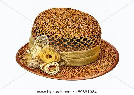 Female straw hat with a ribbon of flowers and a dow