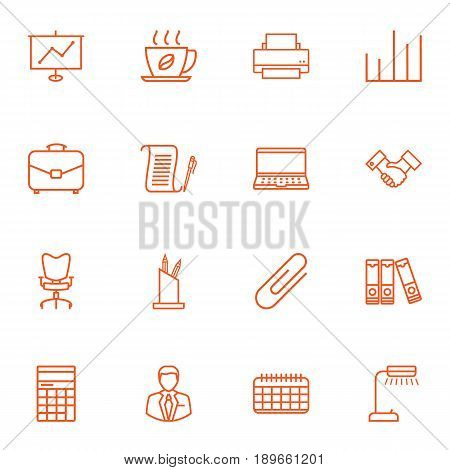 Set Of 16 Bureau Outline Icons Set.Collection Of Administrator, Workplace, Document Case And Other Elements.