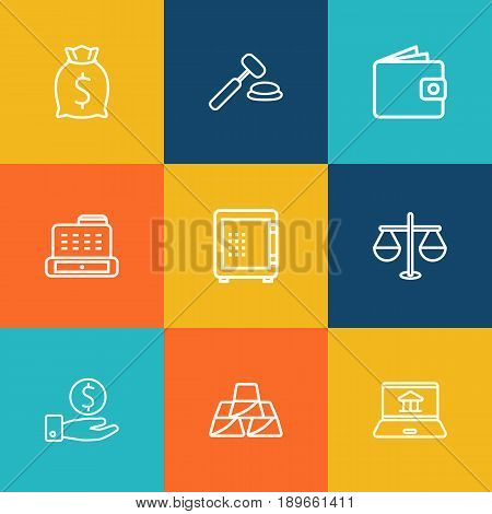Set Of 9 Budget Outline Icons Set.Collection Of Moneybag, Golden Bars, Justice And Other Elements.