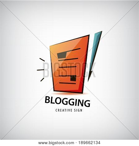 Vector logging, writing, freelance logo. Paper and pen icon