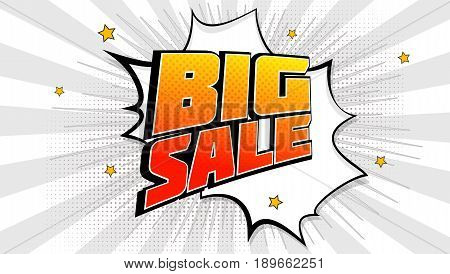 Big sale pop art splash background, explosion in comics book style. Advertising signboard, price reduction, sale with halftone dots, cloud beams light on red backdrop. Vector for ad, covers, posters.