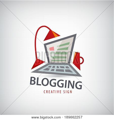 Vector logging, writing, freelance, it logo. Computer lamp and cup illustration