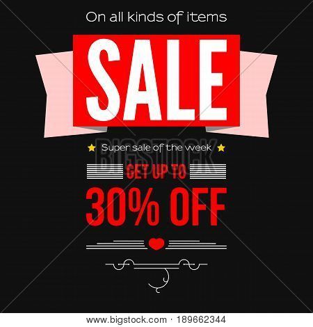 Sale vintage text banner. Ready to print and use in advertising of products and the best deals composition. Selling banner on a white background with thirty percent discount.