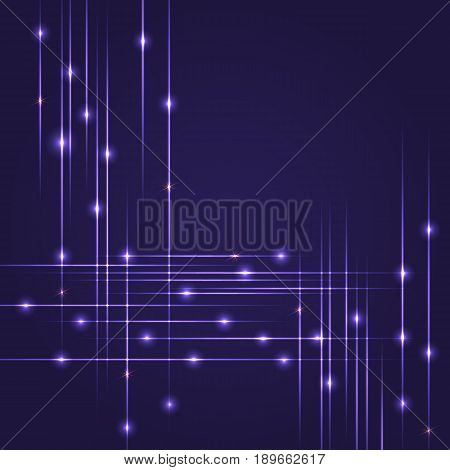 Hi-Tech background with glowing string. Luminous intersecting lines with shining dots. Abstract striped background with light effects. Template for flyers, cover, presentation or poster.