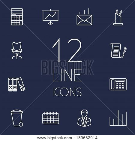 Set Of 12 Bureau Outline Icons Set.Collection Of Workplace, Pen Storage, Counter And Other Elements.