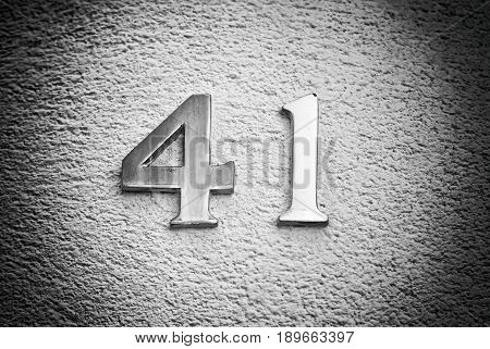 Number Forty-one On The Wall Of A House