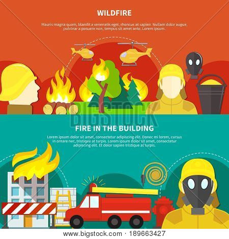 Colorful firefighting banners set with forest wildfire and burning building flat isolated vector illustration