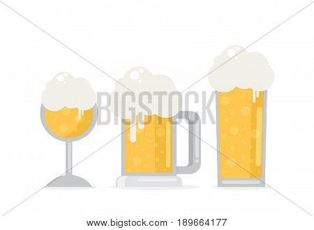Set Of Beer Icons. Beer Bottle, Glass, Pint. Oktoberfest. Vector Flat Illustration Isolated On White