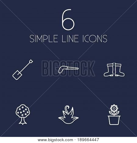 Set Of 6 Horticulture Outline Icons Set.Collection Of Arm-Cutter, Spade, Waterproof Shoes And Other Elements.