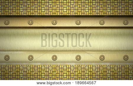 Metal textured background. Golden ingot. Digital illustration.