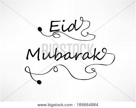 illustration of eid mubarak text on occasion of muslim festival eid