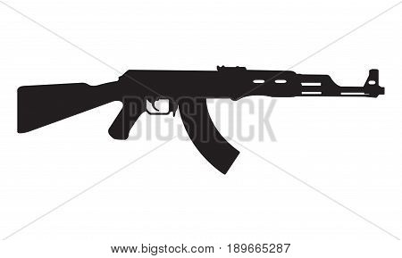 AK47 icon. Kalashnikov machine gun black silhouette. Vector illustration.